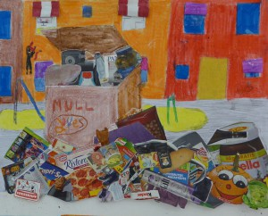 Überfüllte Mülltonne Kl.6